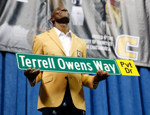 Former wide receiver Terrell Owens holds ...