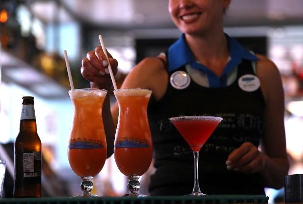 A bartender at Wipeout Bar & ...