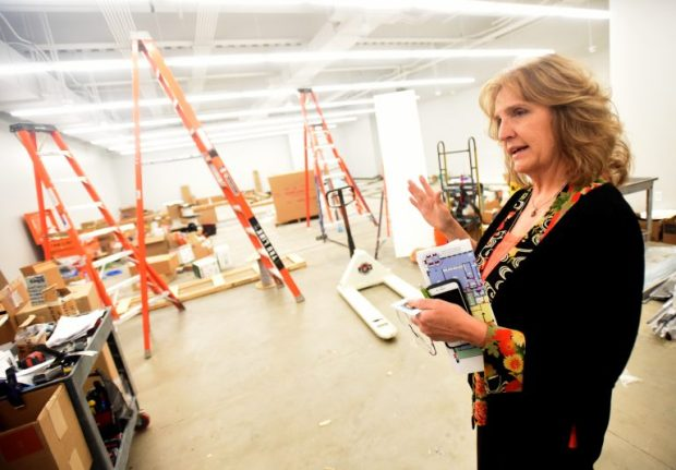 Becky Safarik, Assistant City Manager for Greeley, talks about some of the new features the Greeley City Center will have once completed during a tour on Tuesday at the building in downtown.