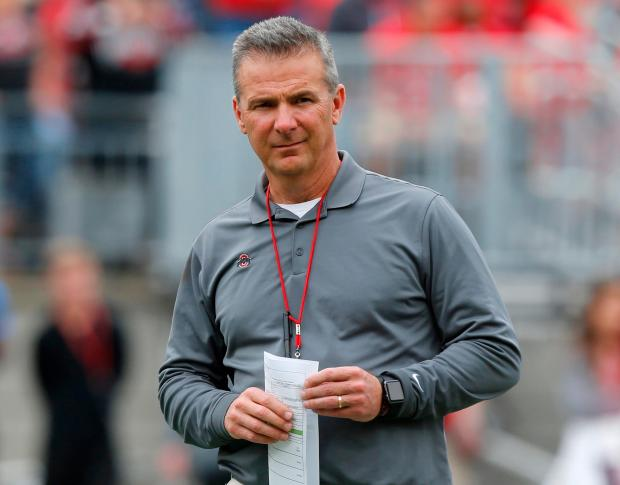 In this April 14, 2018, file photo, Ohio Setate coach Urban Meyer watches the NCAA college football team's spring game in Columbus, Ohio.