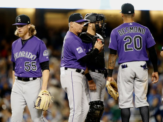 Colorado Rockies starting pitcher Jon Gray, ...