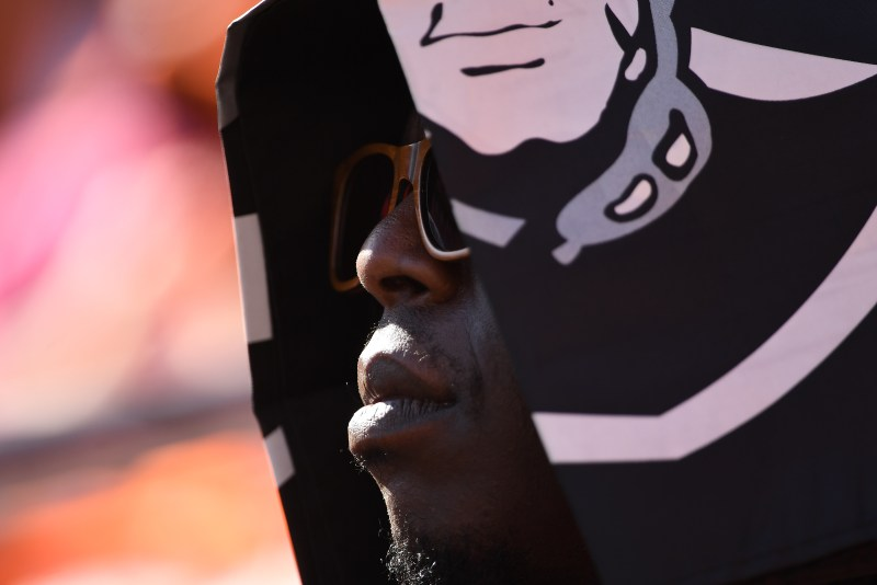An Oakland Raiders fan during the ...