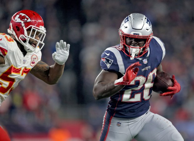 New England Patriots running back Sony Michel runs up field during the third quarter of the game at Gillette Stadium on Oct. 14, 2018 in Foxboro, Mass.