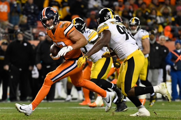 Jeff Heuerman (82) of the Denver ...