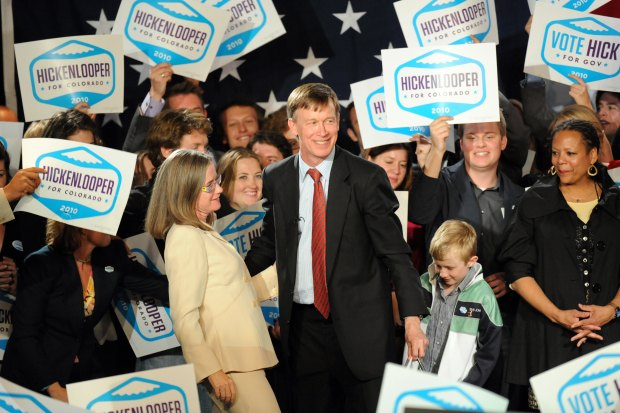 New Colorado Governor John Hickenlooper celebrates ...