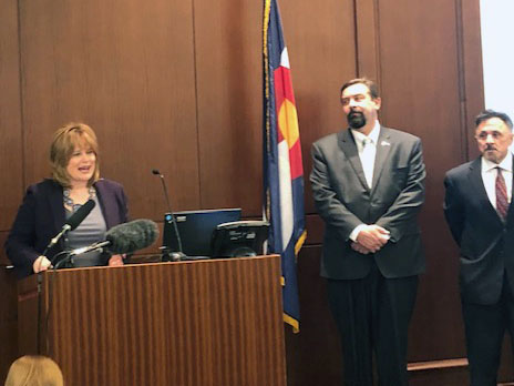 Attorney General Cynthia Coffman and former Columbine High School principal Frank DeAngelis, far right, introduce the Colorado Healing Fund, a nonprofit to benefit mass tragedy victims on Dec. 11, 2018 in Denver.