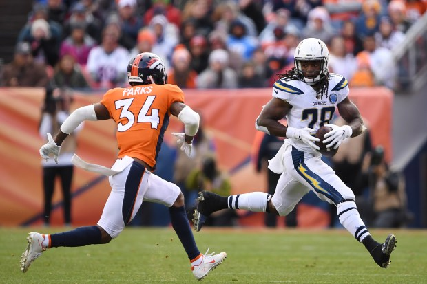 Melvin Gordon (28) of the Los ...