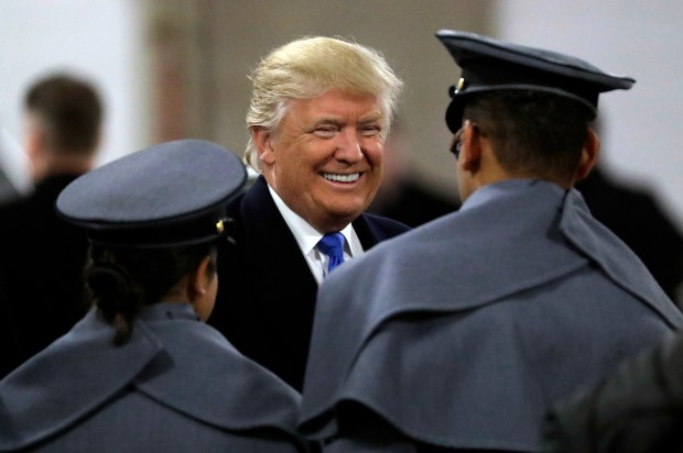 President-elect Donald Trump, center, greets Army ...