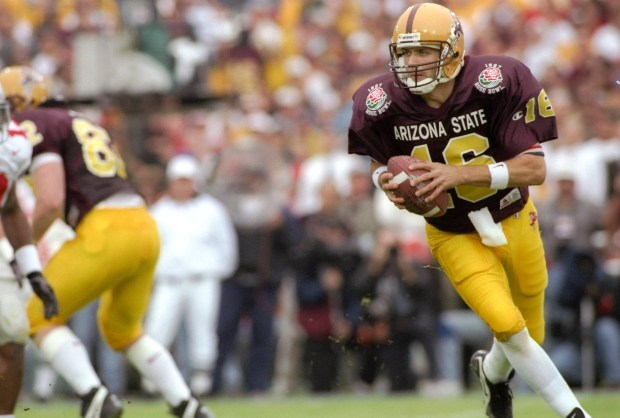 Quarterback Jake Plummer of the Arizona State Sun Devils moves the ball during the Rose Bowl against the Ohio State Buckeyes on Jan. 1, 1997 at the Rose Bowl in Pasadena, Calif. Ohio State won the game, 20-17.