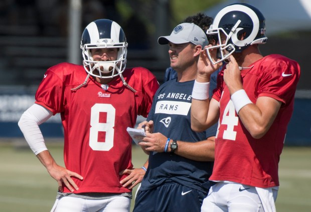 Los Angeles Rams quarterbacks Brandon Allen, ...