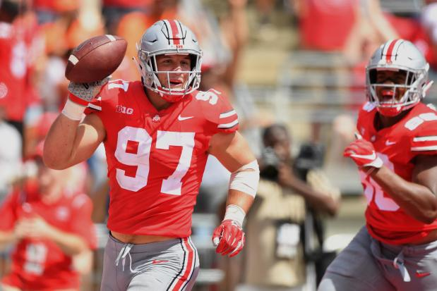 Nick Bosa of the Ohio State Buckeyes celebrates after recovering a fumble in the end zone for a touchdown in the second quarter against the Oregon State Beavers at Ohio Stadium on Sept. 1, 2018 in Columbus, Ohio.