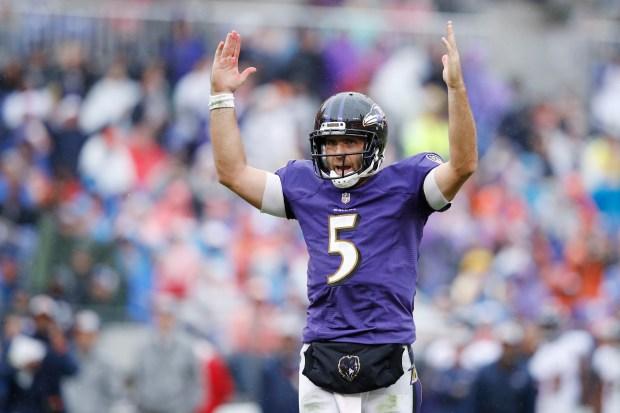 Joe Flacco #5 of the Baltimore ...