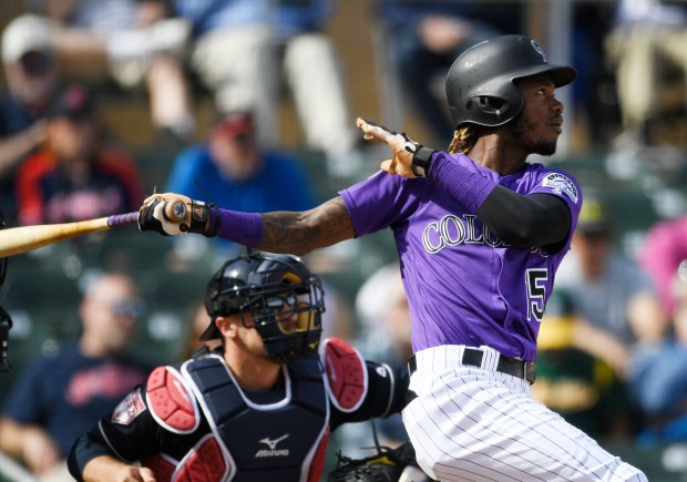Colorado Rockies center fielder Raimel Tapia ...