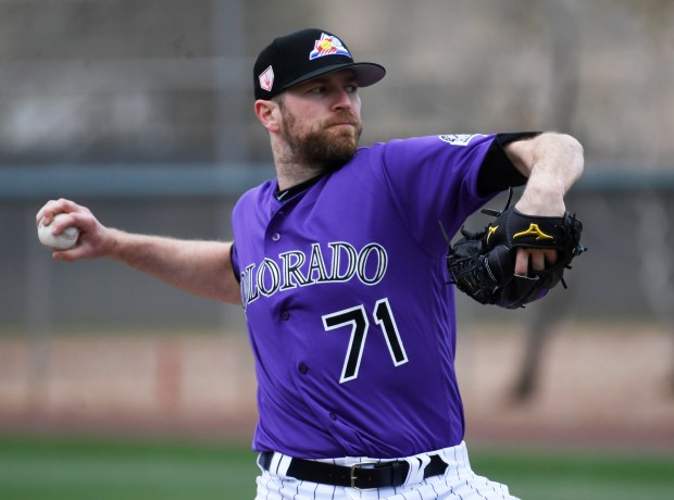 Colorado Rockies closing pitcher Wade Davis ...
