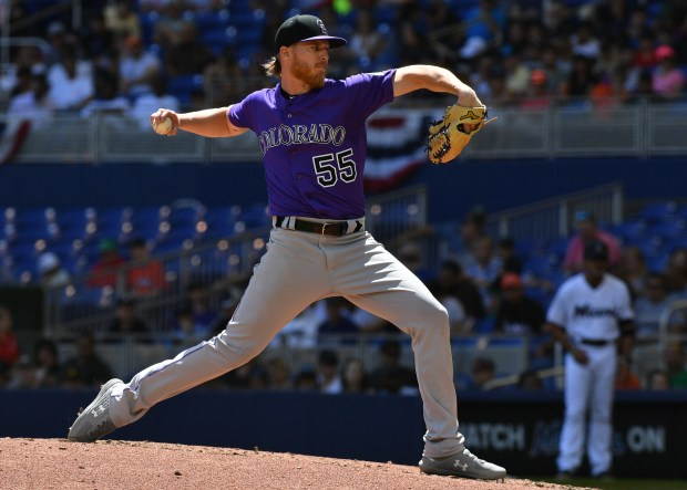 Jon Gray of the Colorado Rockies pitches in the fourth inning against the Miami Marlins at Marlins Park on March 31, 2019 in Miami, Fla.