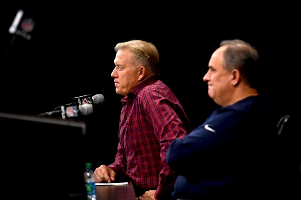 Denver Broncos president of football operations and general manager John Elway and head coach Vic Fangio speak about the team during a press conference to introduce their new quarterback Joe Flacco (not pictured) March 15, 2019, in Englewood.