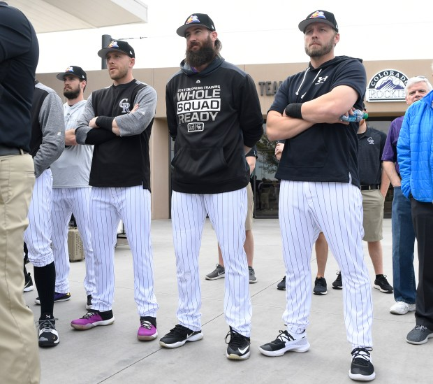 Colorado Rockies players from left to ...