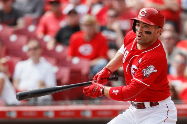 Cincinnati Reds' Joey Votto hits a ...