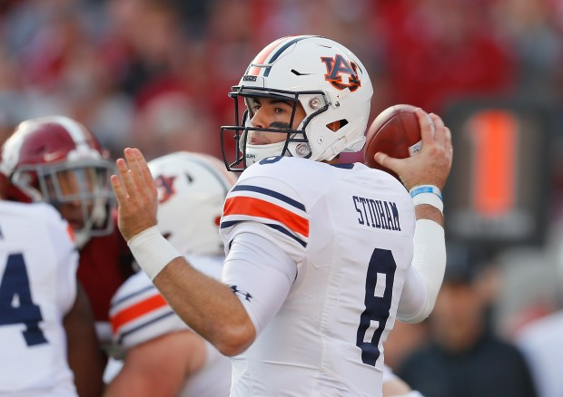 Jarrett Stidham of the Auburn Tigers looks to pass against the Alabama Crimson Tide at Bryant-Denny Stadium on Nov. 24, 2018 in Tuscaloosa, Ala.