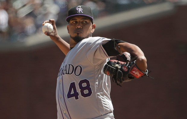 Colorado Rockies pitcher German Marquez (48) ...