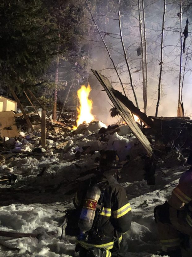 Firefighters with the Red, White & Blue Fire Protection District working on a home that exploded in Breckenridge early in the morning on April 3, 2019.