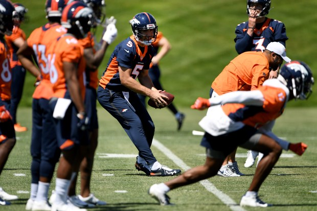 Denver Broncos quarterback Joe Flacco #5 ...