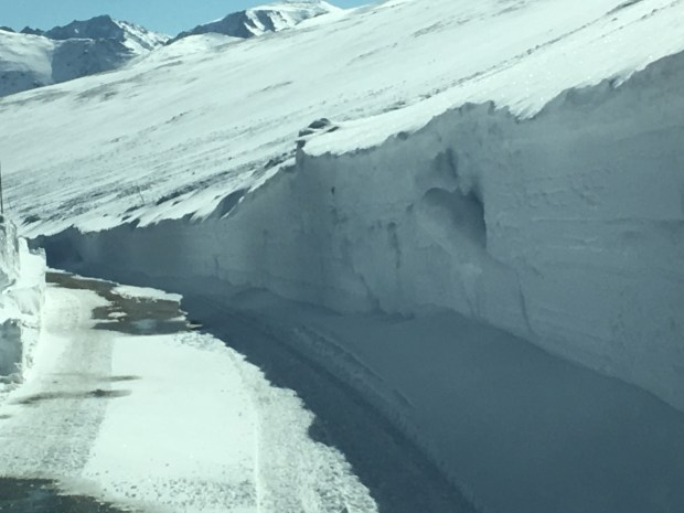 Rocky Mountain National Park snowplow operators meet on Trail Ridge Road for first time this season
