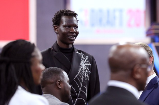 NBA Prospect Bol Bol looks on ...