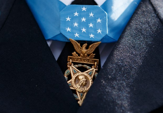The Medal of Honor hangs around ...