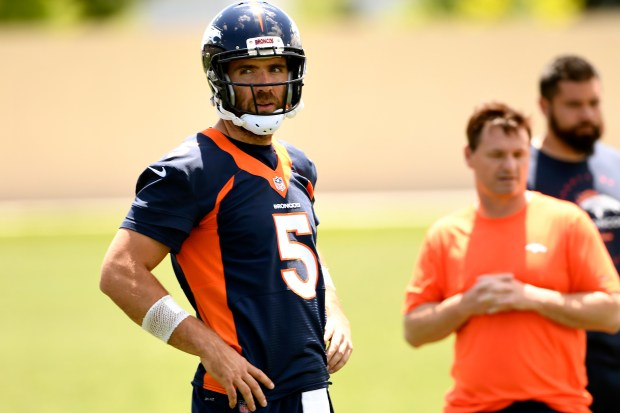 Joe Flacco #5 of the Denver ...