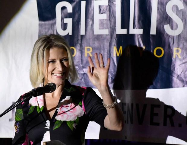 JDenver Mayoral candidate Jamie Giellis greets ...