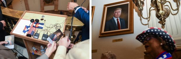 At left: Small portraits of President ...