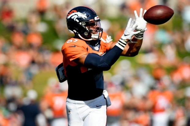 Denver Broncos tight end Noah Fant, ...