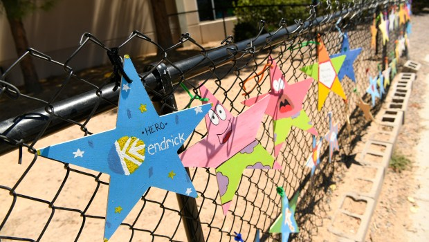 Handmade stars with encouraging messages of ...