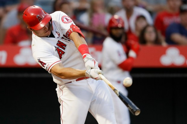 Los Angeles Angels' Mike Trout hits ...