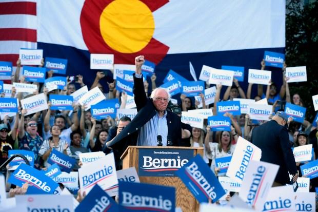 Presidential candidate Bernie Sanders pumps his ...