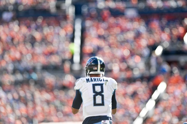 Marcus Mariota (8) of the Tennessee ...