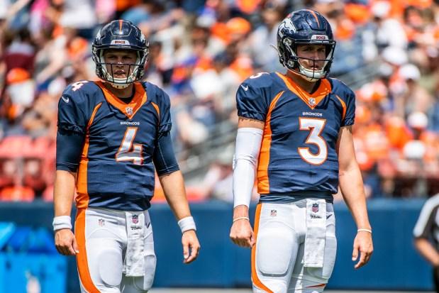 Denver Broncos quarterback Brett Rypien (4) ...