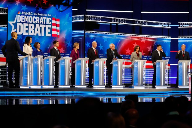 Democratic presidential candidates from left, Sen. ...
