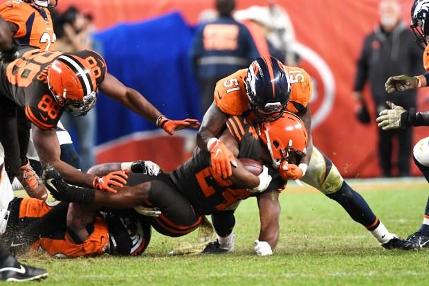 Denver Broncos defensive end Derek Wolfe ...