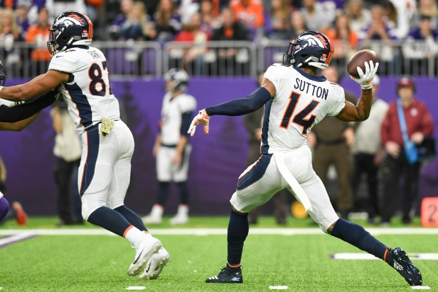 Courtland Sutton (14) of the Denver ...