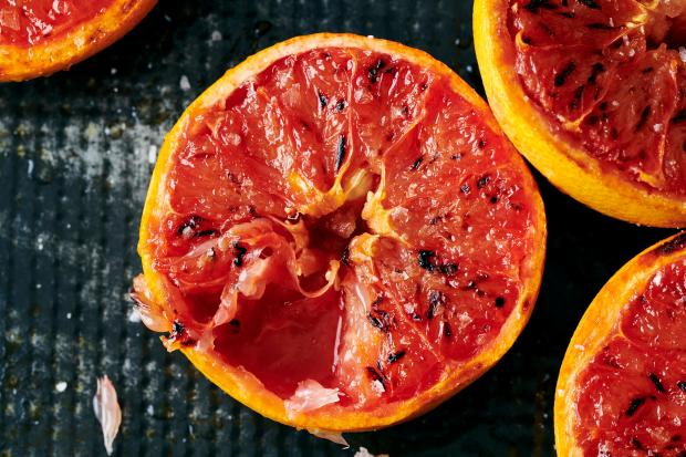 Broiled grapefruit, with a little cinnamon ...