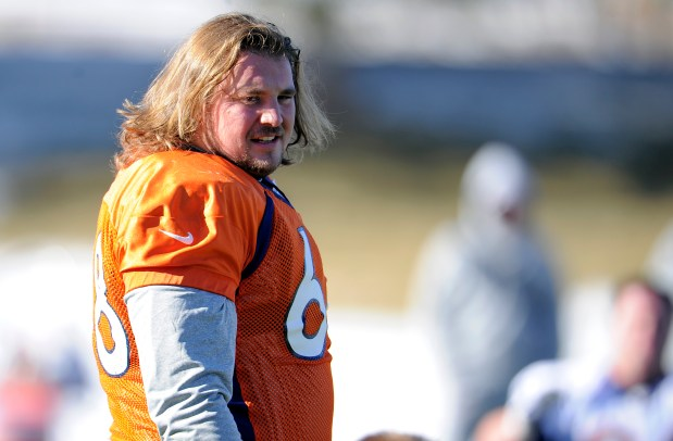 Denver Broncos guard Zane Beadles (68) ...