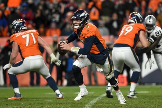 Drew Lock (3) of the Denver ...