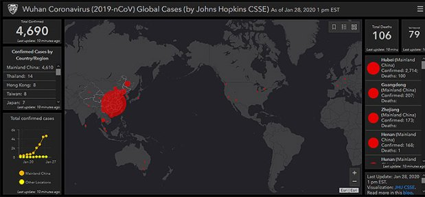 Coronavirus real-time map shows spread of virus worldwide