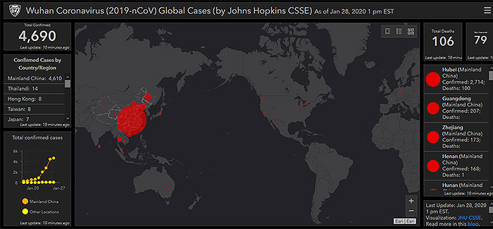 Coronavirus real-time map shows worldwide spread of virus