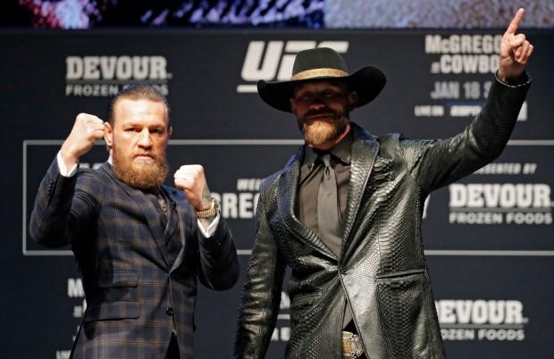 "Conor McGregor, left, and Donald ""Cowboy"" ..."