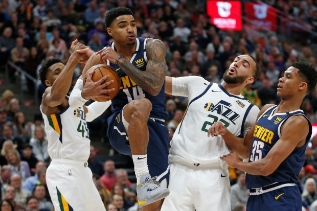 Denver Nuggets guard Gary Harris (14) ...