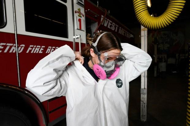 West Metro Firefighter/paramedic Victoria DiGiannantonio puts ...