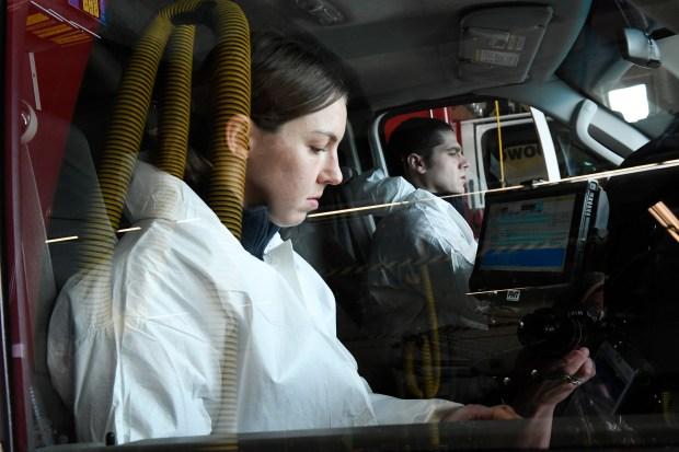 West Metro Firefighter/paramedics Victoria DiGiannantonio, left, ...